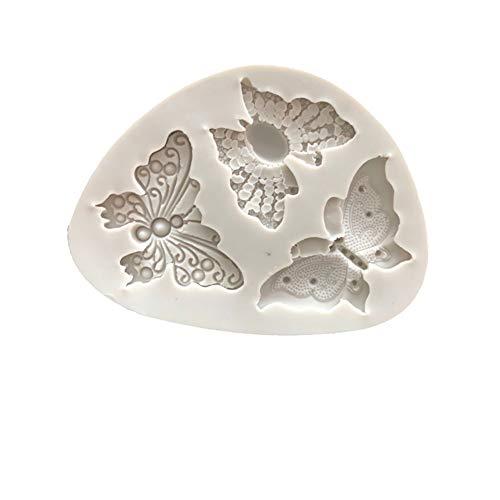 Depory - Molde de Silicona para Fondant con diseño de Mariposas y Encaje, para decoración de Tartas de cumpleaños, Chocolate, Accesorios antiadherentes para Bricolaje, 9,5 x 7 x 1 cm