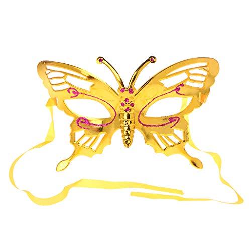 m Schmetterling Gesichtsmaske Glitter Masquerade Party Halloween Kostüm-Gold ()