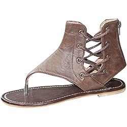 Sandalias Bohemias, Manadlian Zapatos de Mujer Bohemia Leisure Bling Toe Post Sandalia Plana Zapatos al Aire Libre Oferta de Liquidación! (CN:38, Marrón)