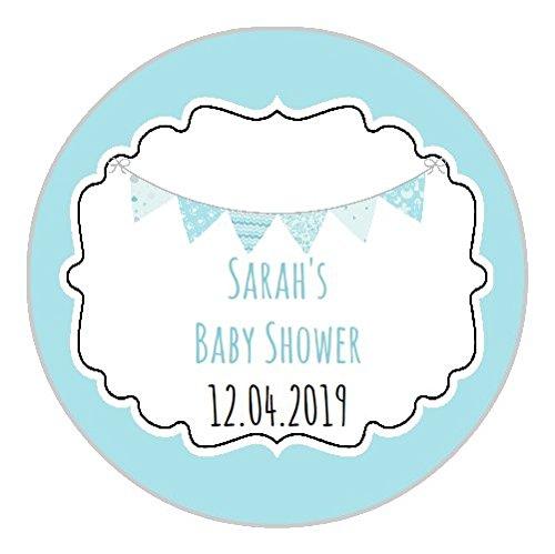 24'Rahmen Shabby Wimpelkette Baby Dusche Partei Tasche Danke Sweet Konus Aufkleber Etiketten blau (Personalisierte Baby-dusche-etiketten)