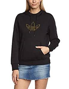 Adidas Womens Hoodie Top adidas Trefoil F78403 With Golden Logo On Front (UK 4, Black)
