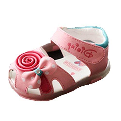 Ohmais Enfants Chaussure bebe fille premier pas Chaussure premier pas bébé sandale en cuir souple pink