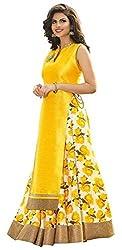 Maxthon Fashion Women's Yellow Benglory Silk Design Unstitched Free Size XXL Lehenga Choli (Women's Indian Clothing Lehnga Choli 4065)