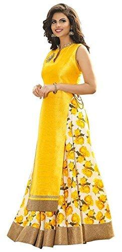 White World Women\'s Fabric Bhagalpuri Silk Yellow Colour Semi Stiched Lehenga choli