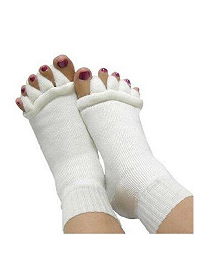 Monkeybrother Weiß schöne Zehenspreizer Wellness Socken Zehentrenner Pediküre Fuß Massage Socken (Pediküre-zehen-separatoren)