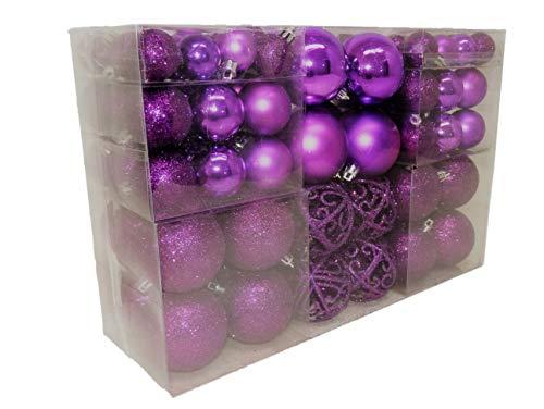 100 palline per abete natalizio di color lilla, scintillanti, lucide e opache, fino a Ø 6 cm, decorazioni da appendere