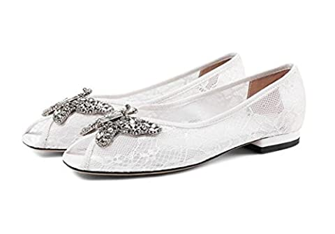 Beauqueen Sandales de mariage Hollow Exquisite Butterfly Décoration Peep Toe Flat Non-slip Outsoles Femmes Casual Elegant Sandals Taille de l'UE 33-40 , white , 34
