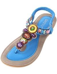 Vogstyle Mujeres Sandalias Verano Estilo Étnico Playa Zapatos Bohemio Sandalias Punta Abierta Deslizadores Verano Boho Chic Zapatillas ZMY002