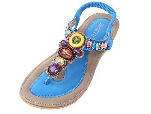 Vogstyle Femme Sandales Compensées Tongs Semelle Chaussures Plates Eté Flip Flops Style 2 Bleu