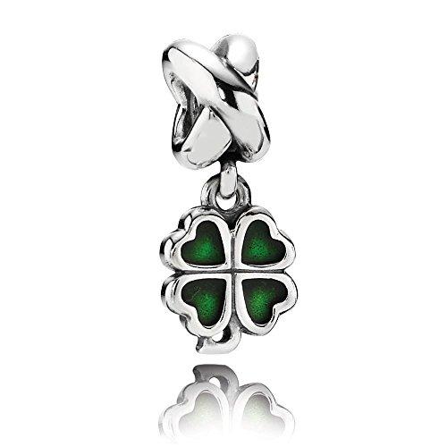 Pandora charm pendente quadrifoglio verde
