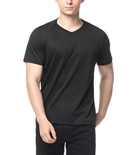 Lapasa Herren 2-Pack Baumwolle Tatting T-Shirts-HAUTVERTRÄGLICH und Modisch- Long Tee mit V Kragen M41 Schwarz
