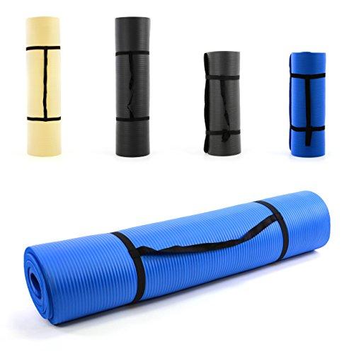 Nexos Yoga-Matte extra-dick extra-breit XXL Gymnastikmatte Fitnessmatte Pilates-Matte, Schadstofffrei, mit Tragegurt 190 x 102 x 1,5 cm, Farbe: blau