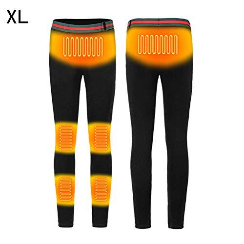 Kampre - leggings termici per riscaldamento, usb, riscaldamento intelligente, temperatura costante, per indumenti, riscaldamento elettrico, protezione per ginocchia, in velluto, nero-xl