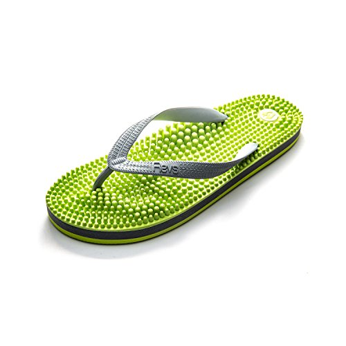 Revs Light Flip Flop, Fussreflexzonenmassage Massage Flip Flops by Kenkoh Europe, Grün Grau EU44