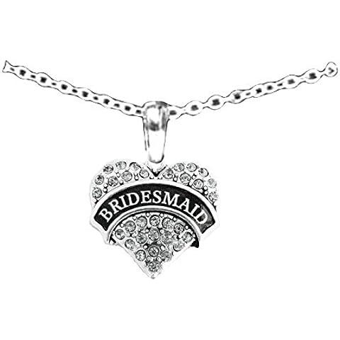 Collana in argento a forma di cuore, con cristalli, adatta come regalo per damigella d'onore