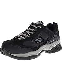 Skechers for Work Men's Soft Stride Grinnel Slip Resistant Work Shoe,Black/Gray,12 M US