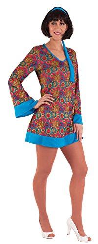 ,Karneval Klamotten' Hippie Kleid Kostüm Damen Flower-Power Kostüm Damen inkl. Haarband blau Karneval 60er Jahre Damen-Kostüm Größe 40/42
