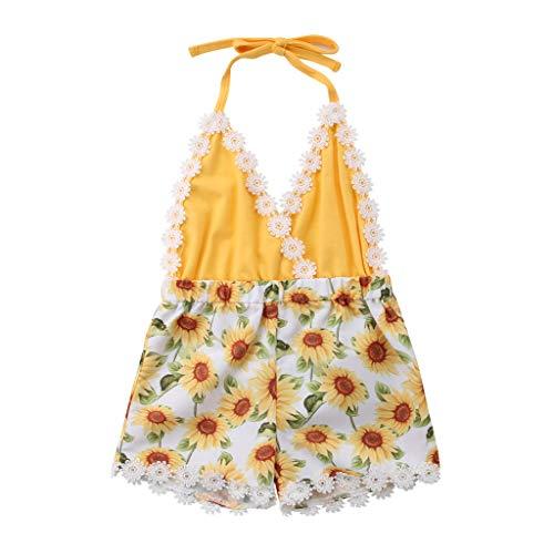 HEETEY Mädchen Strampler Kleid, Neugeborener Säuglingsbabyjunge Spitze rückenfreie Sonnenblume Strampler Overall Kleidung Ärmellose Sling Sonnenblume Spitzenoverall