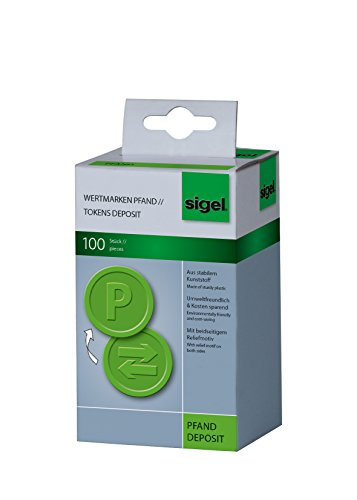 SIGEL WM009 Wertmarken Chips / Pfandmarken Pfand, grün, 100 Stück
