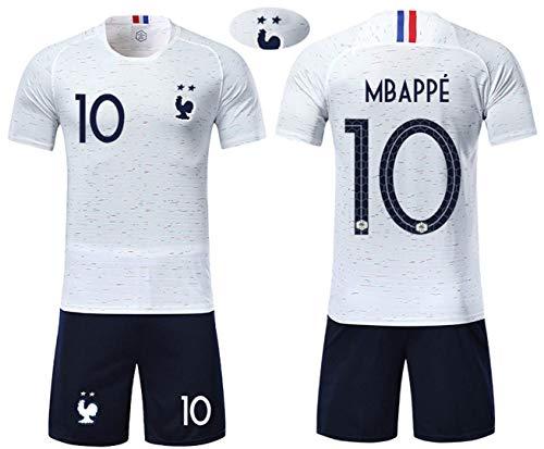 GESUNDHOME Maillot de Foot Homme Mbappé France 2018 2 Étoiles T-Shirt et Short -Taille S M L XL (Ensemble Blanc, XL)