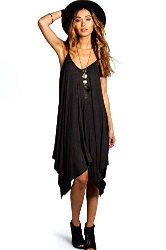 Schwarz Jen Ausgestelltes Kleid Mit Trägern Und Asymmetrischem Saum Schwarz