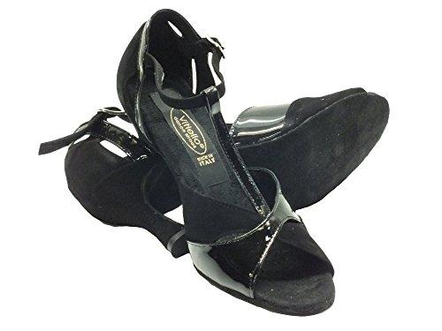 Vitiello Dance Shoes  324 camoscio vernice nero forma 326/70, Chaussons de danse pour femme Noir Nero Noir - Camoscio e vernice nero