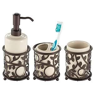 mdesign dekoratives 3er set badaccessoires bad accessoires set bestehend aus seifenspender. Black Bedroom Furniture Sets. Home Design Ideas