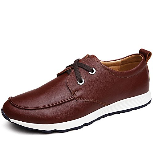 Herren casual Leder atmungsaktive outdoor-Mode Sneaker Bootsschuh Dark Brown