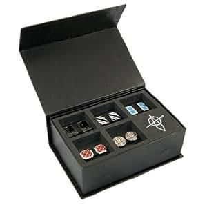 STARTER SOLUTION Manschettenknöpfe, coole Cufflinks 5 Stück (paarweise, aus Messing), Manschettenknöpfe Box, Farbe: Schwarz, Blau, Rot, Weiß, Silber