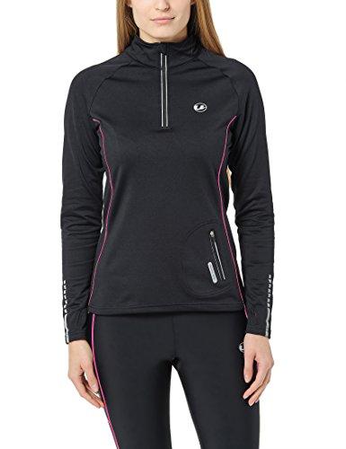 Ultrasport Damen Jimi windabweisendes angerautes Fleece Laufshirt mit Reflektoren und Quick-Dry-Funktion Nelli, Schwarz/Neon Pink, XL
