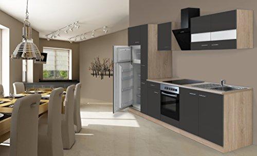 respekta Einbau Küche Küchenzeile 300 cm Eiche Sonoma Grau Sägerau inkl. Kühl- Gefrierkombi & Ceranfeld