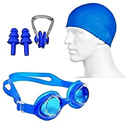 Swimming kit with Silicone Swim Cap, Goggle, 2 Pair Ear Plugs and 1 Nose Clip Combo