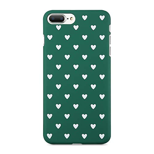 XMDSJKGC Fundas Caja Estuche para iPhone 7 7 Plus 8 8 Plus Estuche Hard Mate Chic Polka Dot Wave Point para iPhone X XS MAX XR 5 6 6S Plus, Corazón Blanco Y Verde, para XS (5.8)