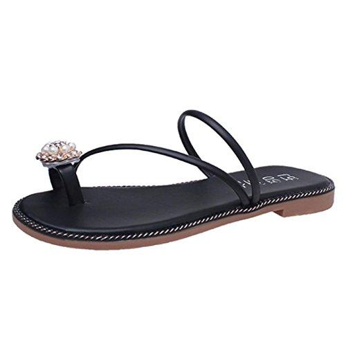 Webla Frauen Sommer Rhinestone Schuhe Peep-Toe Low Schuhe Römische Sandalen Damen Flip Flops Schwarz