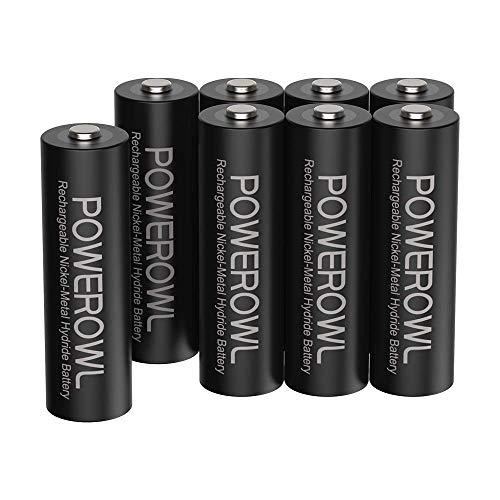 POWEROWL Batterie AA Stilo 2800mAh ad Alta Capacità 1.2V Batterie Ricaricabili AA NI-MH Diametro 14.4mm a Basso Consumo (8 pezzi, ricaricabile circa 1200 volte)