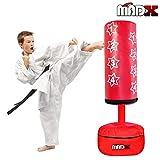 MADX, sacco da boxe con pedana, con guantoni, adatto per i più piccoli, Red