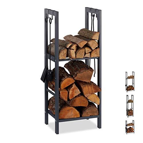 Relaxdays, anthrazit Kaminholzregal mit 2 Ablagen, aus Stahl, 4 Haken für Kaminbesteck, Brennholzregal HBT 100x40x30 cm, 100 x 40 x 30 cm