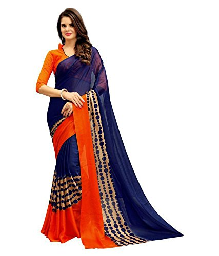 Vatsla Enterprise Women's Heavy Chiffon Printed Saree With Free Blouse Piece(VZENNY_BLUE)