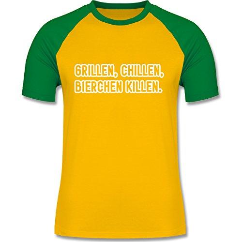 Shirtracer Grill - Grillen, Chillen, Bierchen Killen - Herren Baseball Shirt Gelb/Grün