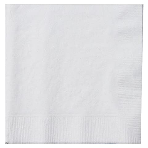 Thali Outlet - 125 x White 2 Ply 33cm 4 Fold Paper Napkins Tissue Serviettes For Birthdays Weddings Parties All Occasions