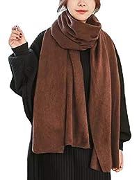 DELEY Femmes Écharpe Tricot Châle Longue Enveloppement Unisexe Automne  Hiver Chaud Laine Foulards Couleur Unie 1229ff2a1f1