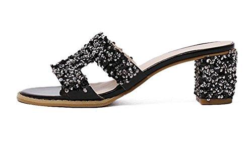 SHINIK Damen Open Toe Maultiere Roman Style Coarse Heels High-Heel Party Hausschuhe Bankett Sandalen Weiß Schwarz Black