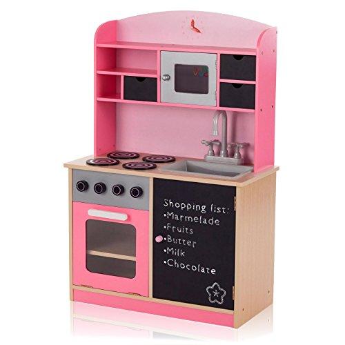 Baby Vivo Kinderküche Spielküche aus Holz Kinderspielküche Küche Holzküche Spielzeugküche mit Tafel - Mila in Rosa