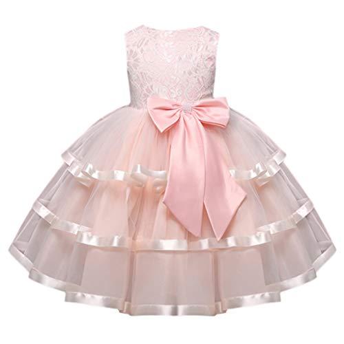 YWLINK MäDchen Kleider Festlich ÄRmellos Spitze Bowknot Prinzessin Formelles BlumenmäDchenkleid Kinder Kleid Brautjungfern Hochzeitskleid Partykleid Tutu Kleid(Rosa,120)