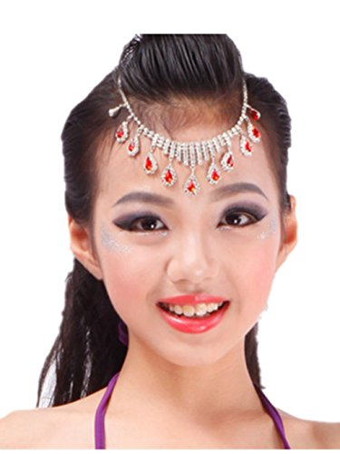 Danse du ventre Jewelry Headress & earrings Red Crystal Accessories Sets red headress
