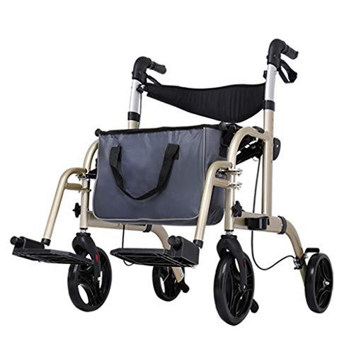 HMHD Leichtgewichtrollator für Senioren,Rollstuhl, höhenverstellbar, Sitzbreite 450mm, maximale Belastbarkeit 130 kg,Gehrahmen Gehhilfe,Rollator und leicht,Stockhalter faltbar Yellow