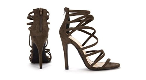 Koi Couture , Sandales pour femme ordinaire Daim kaki