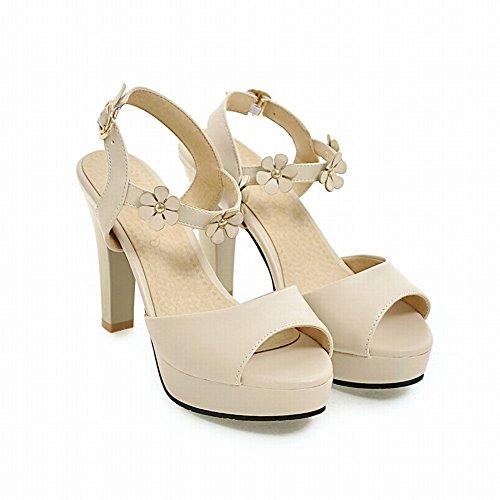 Bege Sapatos Salto Damen Toe Süß Plataforma Alto De Sandálias Peep Com YqYwvrxE