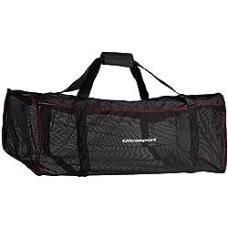 Ultrasport Sac de plongée, noir, capacité de 70 litres, sac en maille avec fermeture à glissière, se roule facilement, peu encombrant
