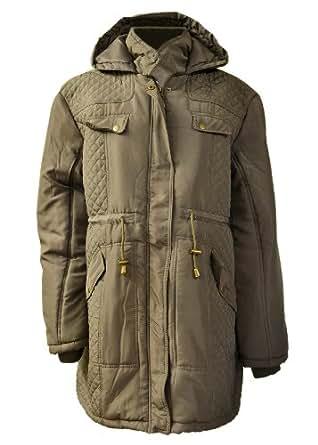 Damen PLUS Größe Schwarz FUR Kapuze Kapuze WINTER LONG PARKA Mantel Jacke 18 20 22 24 26 (24, Khaki (1301))